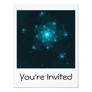 Turquoise Color Abstract Fractal. Personalized Invite