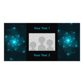 Turquoise Color Abstract Fractal. Personalized Photo Card