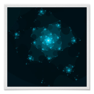 Turquoise Color Abstract Fractal. Posters