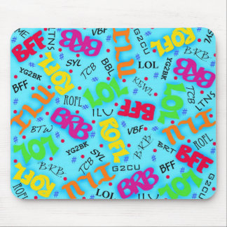Turquoise Colorful Electronic Texting Art Abbrevia Mousepads