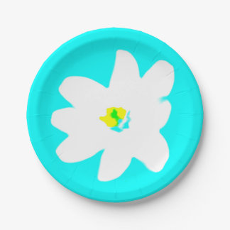 Turquoise Colorful Flower 4Alice 7 Inch Paper Plate