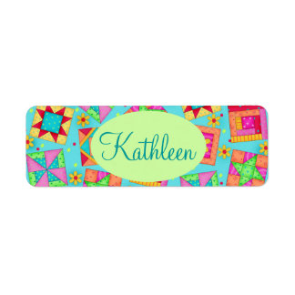 Turquoise Colorful Patchwork Quilt Block Custom Return Address Label