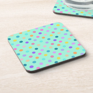 Turquoise colorful polka dots confetti coasters