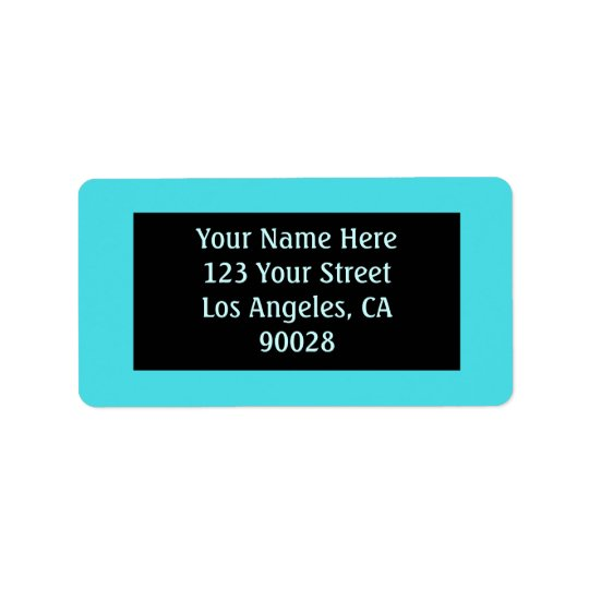 turquoise colour address label