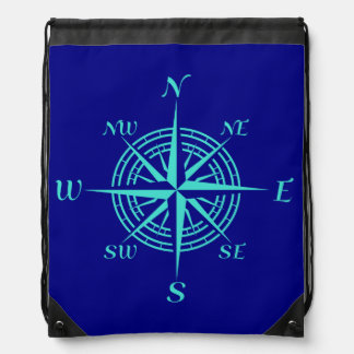 Turquoise Compass Rose On Navy Blue Drawstring Bags