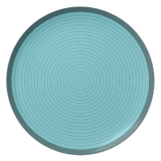 turquoise concentric melamine plate