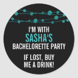 Turquoise Confetti Personalised Bachelorette Party Round Sticker