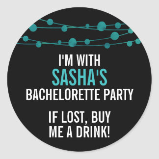 Turquoise Confetti Personalized Bachelorette Party Classic Round Sticker