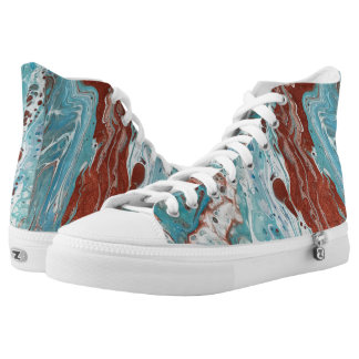 "Turquoise & Copper Abstract High Tops - ""Bella"""