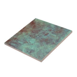 Turquoise Copper Textured Grunge Ceramic Tile