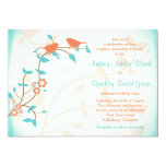 Turquoise Coral Birds Leaves Wedding Invitation