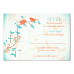 Turquoise Coral Birds Leaves Wedding RSVP Reply 9 Cm X 13 Cm Invitation Card