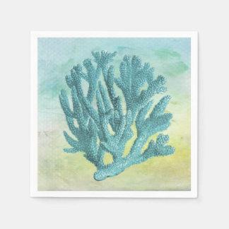 Turquoise Coral Branch Paper Serviettes