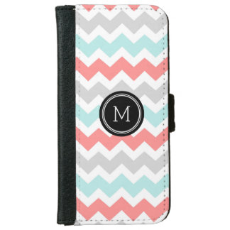 Turquoise Coral Grey Chevron Pattern Monogram iPhone 6 Wallet Case
