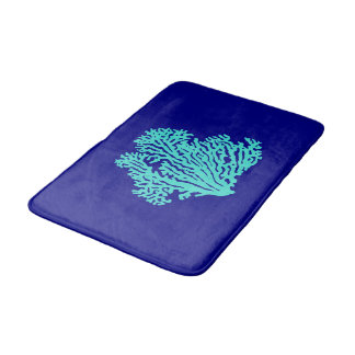 Turquoise Coral On Navy Blue Coastal Decor Bath Mat