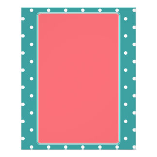 Turquoise, Coral  Polka dots 11.5 Cm X 14 Cm Flyer
