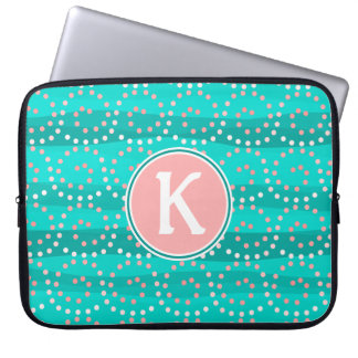 Turquoise & Coral Waves Laptop Sleeve