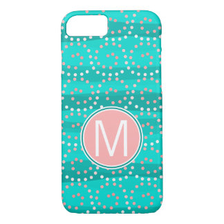 Turquoise & Coral Waves Monogram Phone Case