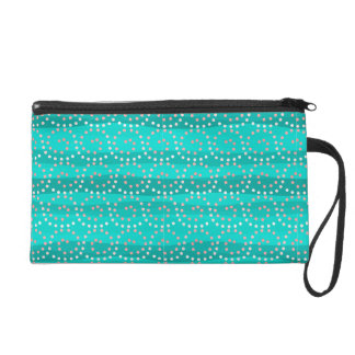Turquoise & Coral Waves Wristlet/Cosmetic Bag Wristlets