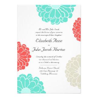 Turquoise Coral Zinnia Flower Wedding Invitation