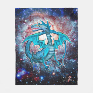 Turquoise Cosmic Dragon Fleece Blanket
