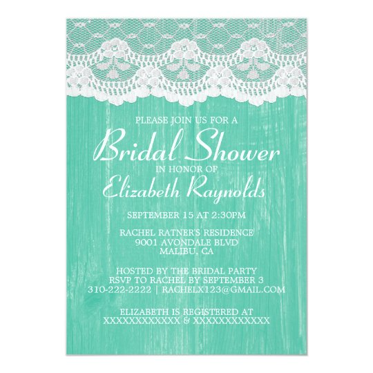Turquoise Country Lace Bridal Shower Invitations