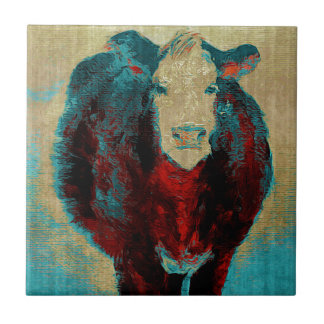 Turquoise Cow Small Square Tile