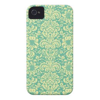 Turquoise/Cream Damask iPhone 4 Cases