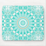 Turquoise & Cream Kaleidoscope Flowers Design Mouse Pad