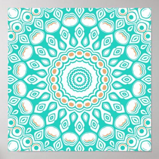 Turquoise & Cream Kaleidoscope Flowers Design Poster