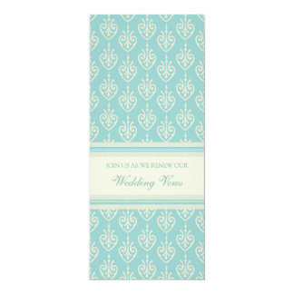 "Turquoise Cream Wedding Vow Renewal Invitations 4"" X 9.25"" Invitation Card"