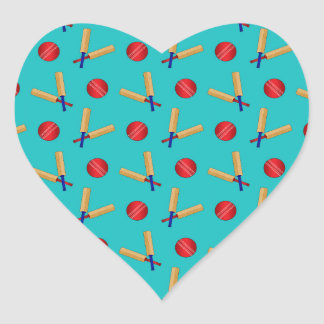 Turquoise cricket pattern heart sticker