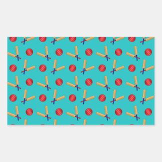 Turquoise cricket pattern rectangular sticker