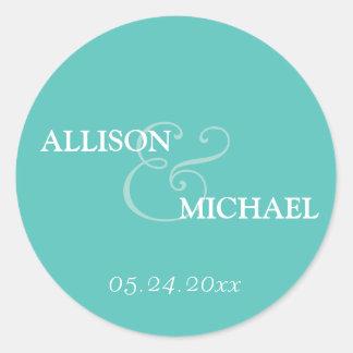 Turquoise custom ampersand wedding favor label round sticker