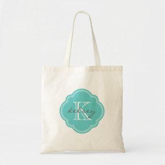 Turquoise Custom Personalised Monogram Tote Bags