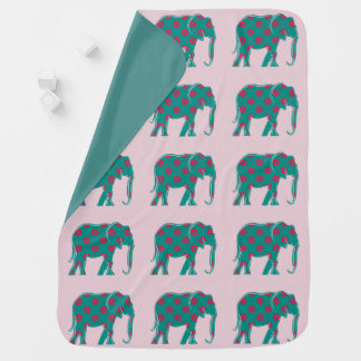 Turquoise Cute Elephant Floral Pink Baby Girl Baby Blanket