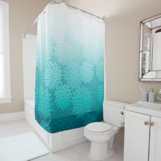 Turquoise Dahlias / flowers floral blossoms Shower Curtain