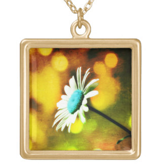 Turquoise Daisy Amber N Gold Necklace