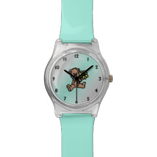 Turquoise Daisy Bear Design Watch
