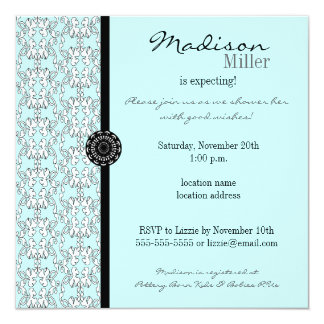 Turquoise Damask Baroque Baby Shower Invitation