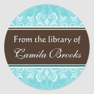 Turquoise damask bookplates/book labels/ex libris round sticker