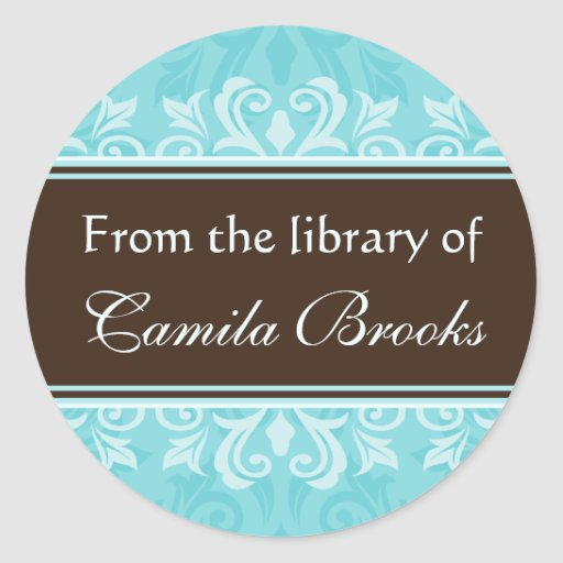 Turquoise damask bookplates/book labels/ex libris round stickers