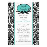 Turquoise Damask Bridal Shower Invitation