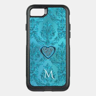 Turquoise Damask Celtic Heart Knot Monogram OtterBox Commuter iPhone 8/7 Case