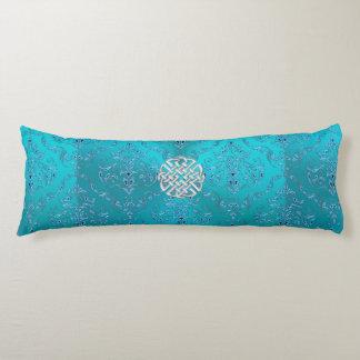 Turquoise Damask Celtic Knot Body Cushion