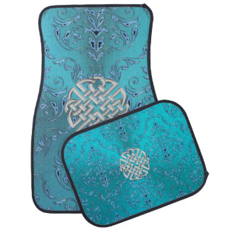 Turquoise Damask Celtic Knot Car Mat
