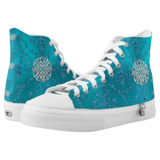Turquoise Damask Celtic Knot High Tops