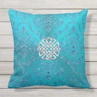 Turquoise Damask Celtic Knot Throw Pillow