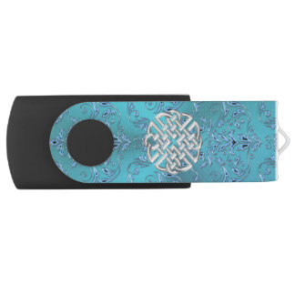 Turquoise Damask Celtic Knot USB Flash Drive