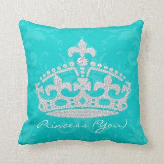 Turquoise Damask Diamond Princess Crown Pillow
